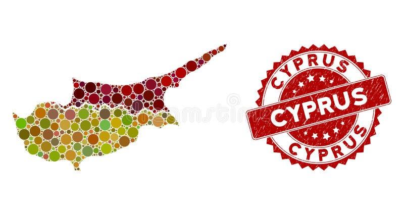 Страны Мосаического Кипра Картируют и прокладывают герметичную печать иллюстрация вектора