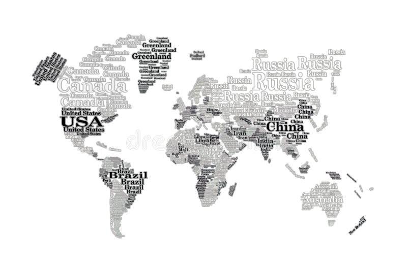 Страны облака слова изолированные на белизне иллюстрация вектора