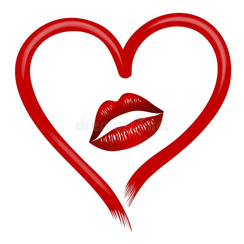 Страстное сердце мечтая о горячем поцелуе бесплатная иллюстрация