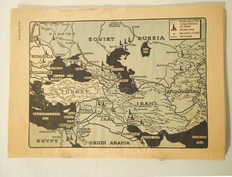 Стратегическая карта Советского Союза, Восточной Европы и Ближнего Востока во время Второй Мировой Войны стоковое фото rf