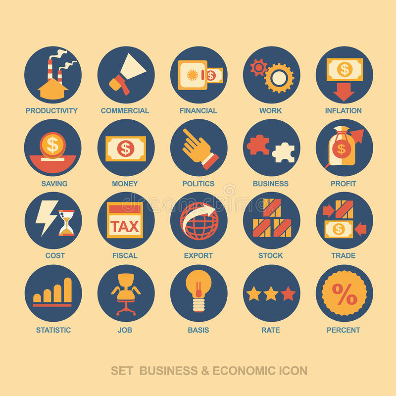 Стратегия бизнеса и бизнес-план значка установленные иллюстрация штока