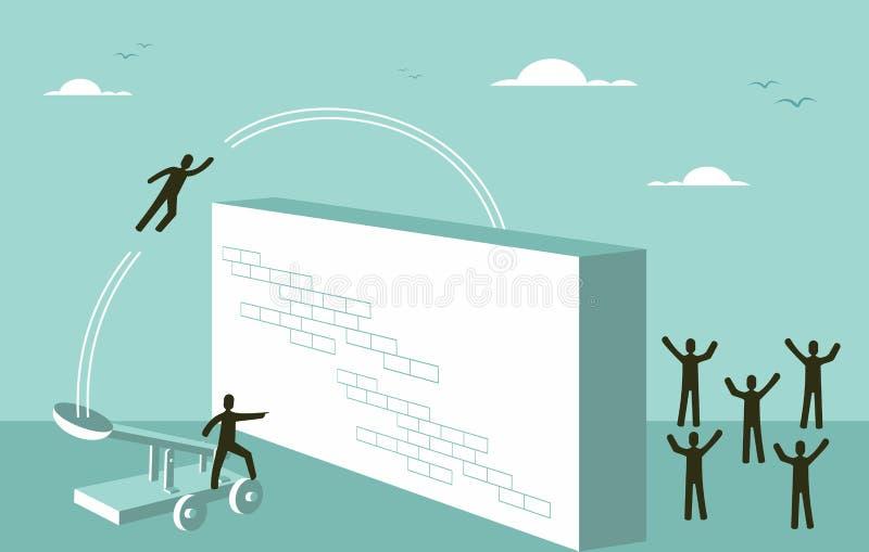 Стратегия бизнеса мотивировки сыгранности для концепции успеха иллюстрация штока