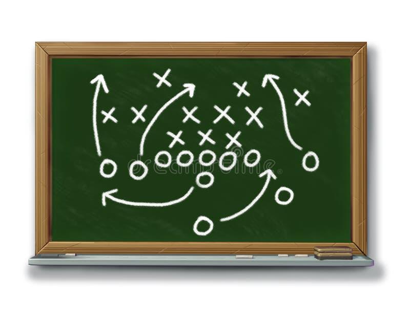 стратегия запланирования плана футбольной игры мелка доски b иллюстрация штока