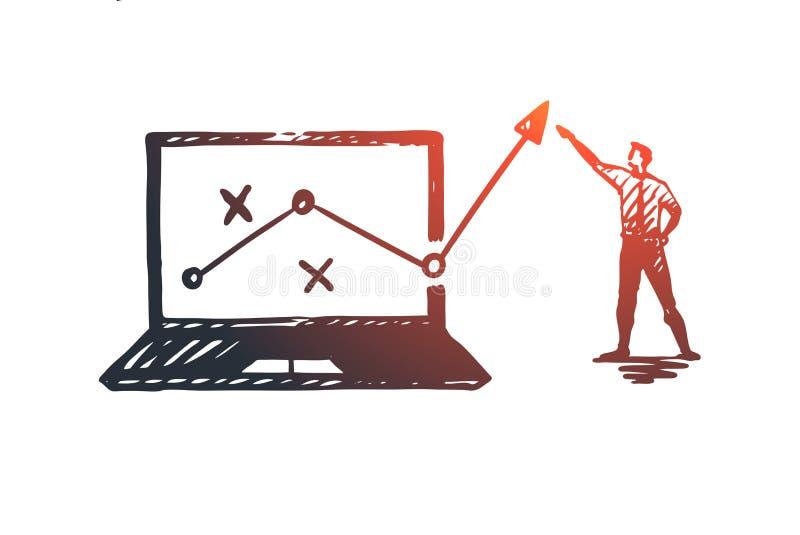 Стратегия, маркетинг, диаграмма, диаграмма, концепция стрелки Вектор нарисованный рукой изолированный иллюстрация вектора