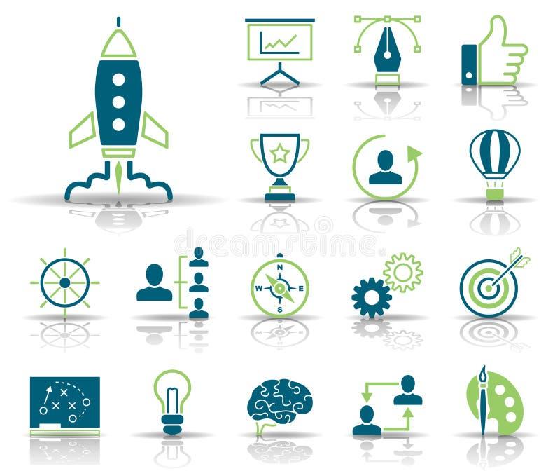 Стратегия & творческие способности - Iconset - значки иллюстрация штока