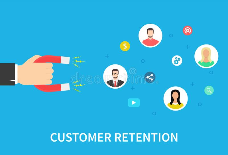 Стратегия удерживания клиента, привлекает клиентов, работы с клиентом и обслуживания, цифрового маркетинга, плоского знамени вект иллюстрация вектора