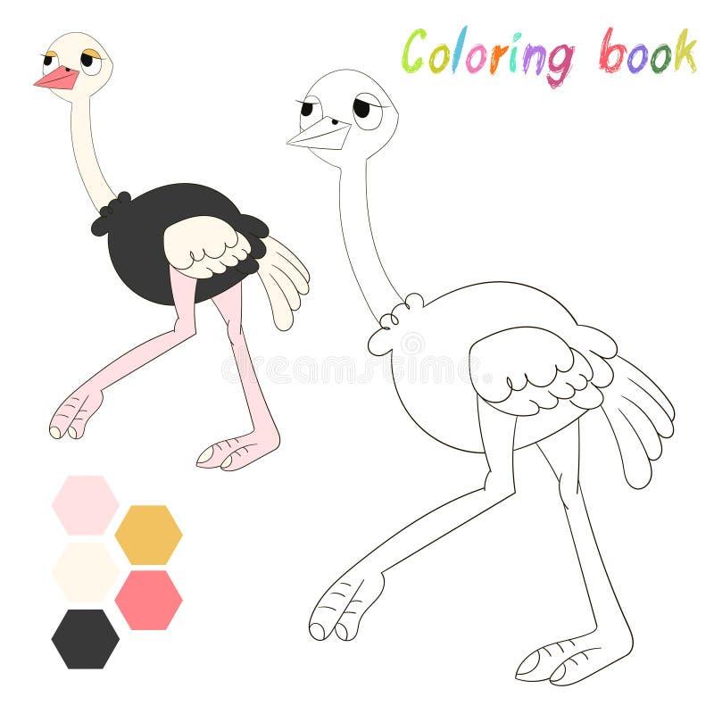 Страус книжка-раскраски ягнится план для игры иллюстрация штока
