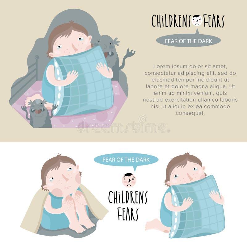 Страхи детей также вектор иллюстрации притяжки corel иллюстрация штока