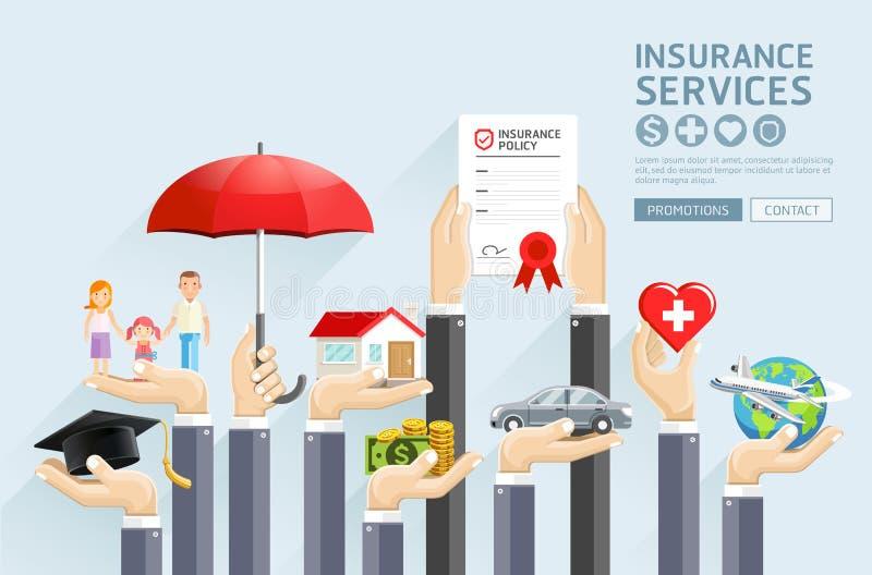 Страхование вручает обслуживания иллюстрация вектора