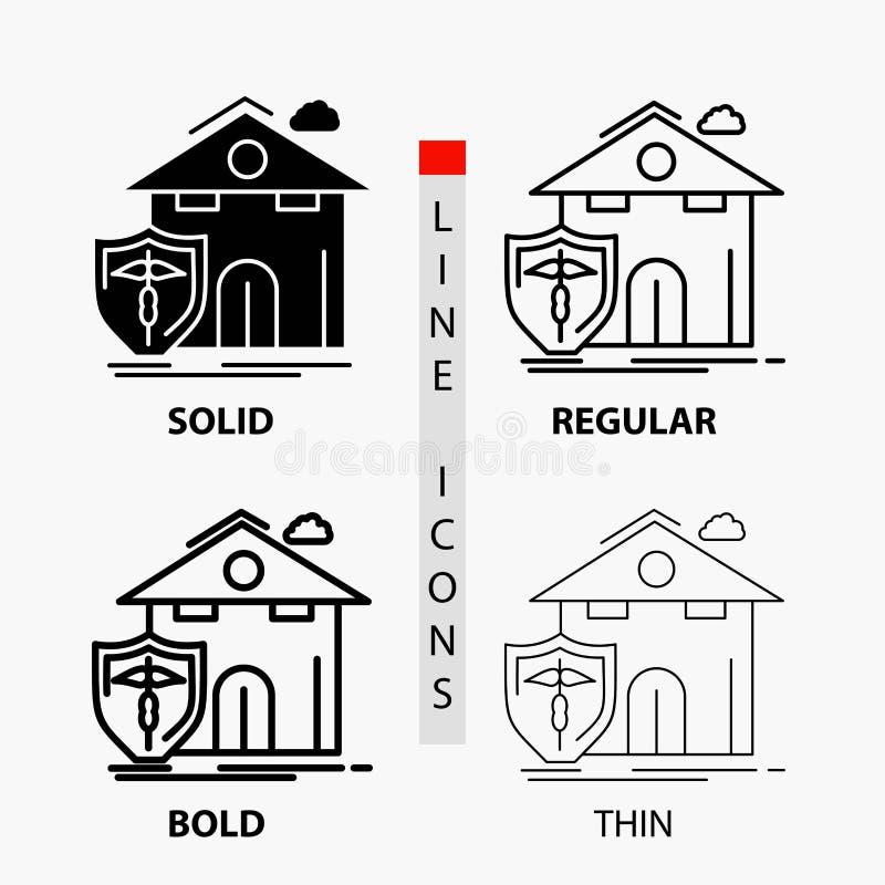 страхование, дом, дом, потери, значок защиты в тонких, регулярных, смелых линии и стиле глифа r иллюстрация вектора