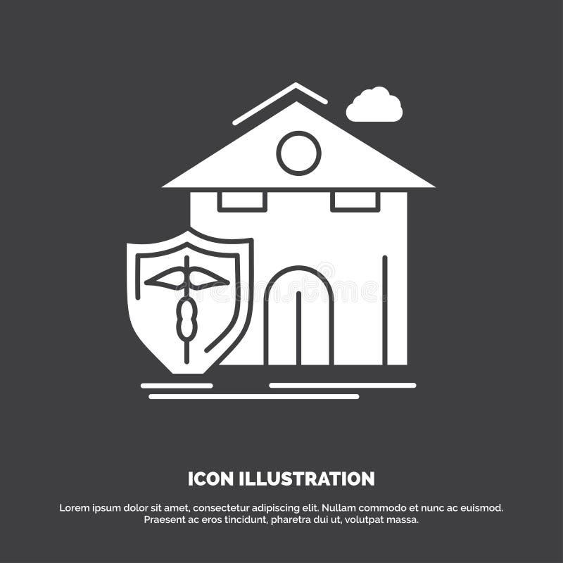 страхование, дом, дом, потери, значок защиты r иллюстрация вектора