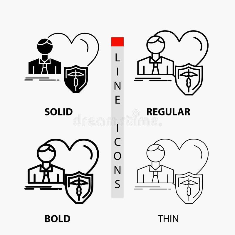 страхование, семья, дом, защищает, значок сердца в тонких, регулярных, смелых линии и стиле глифа r бесплатная иллюстрация