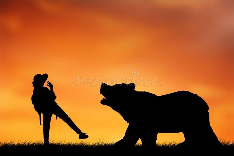 Страх девушки силуэта Big Bear стоковое изображение rf