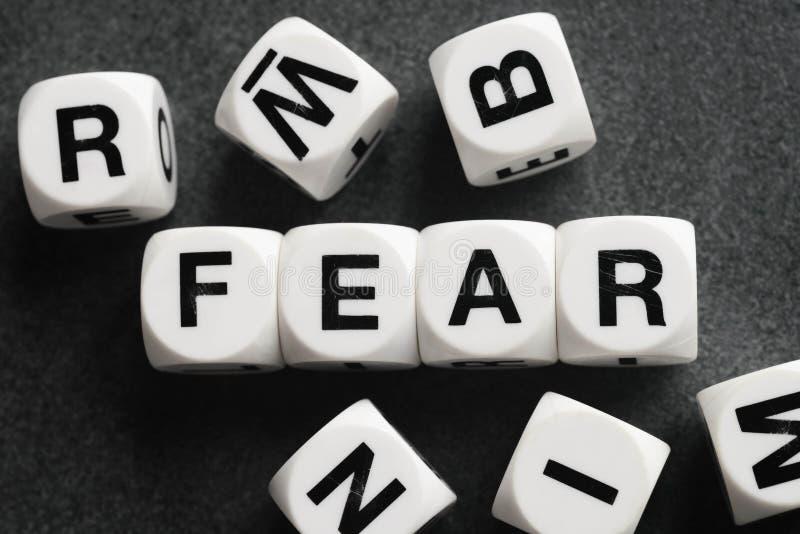 Страх слова на кубах игрушки стоковое изображение