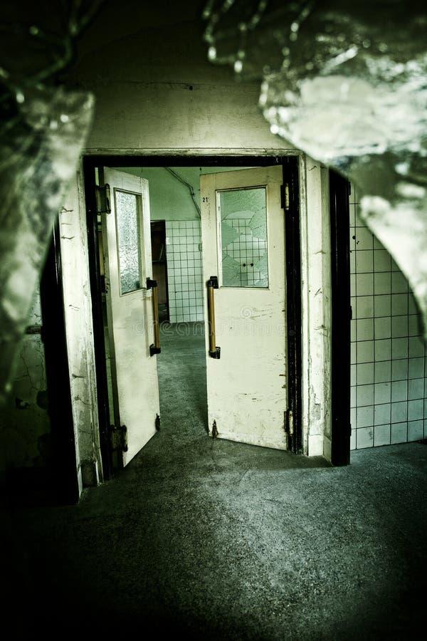 Страшная дверь старого дома стоковое фото rf