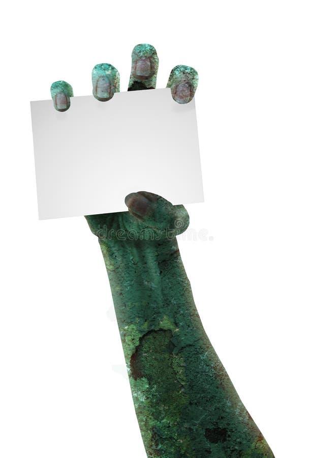 Страшная рука зомби с космосом для текста стоковые изображения rf