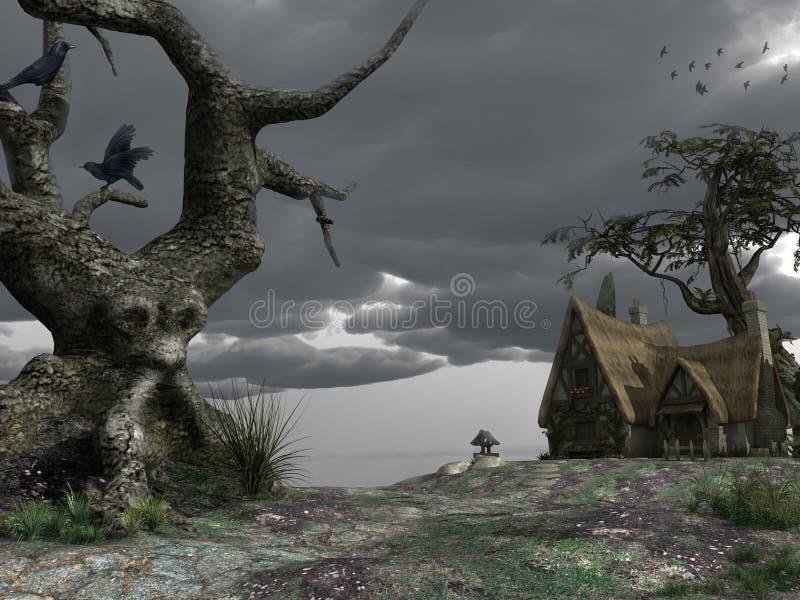 Страшное старое дерево иллюстрация вектора