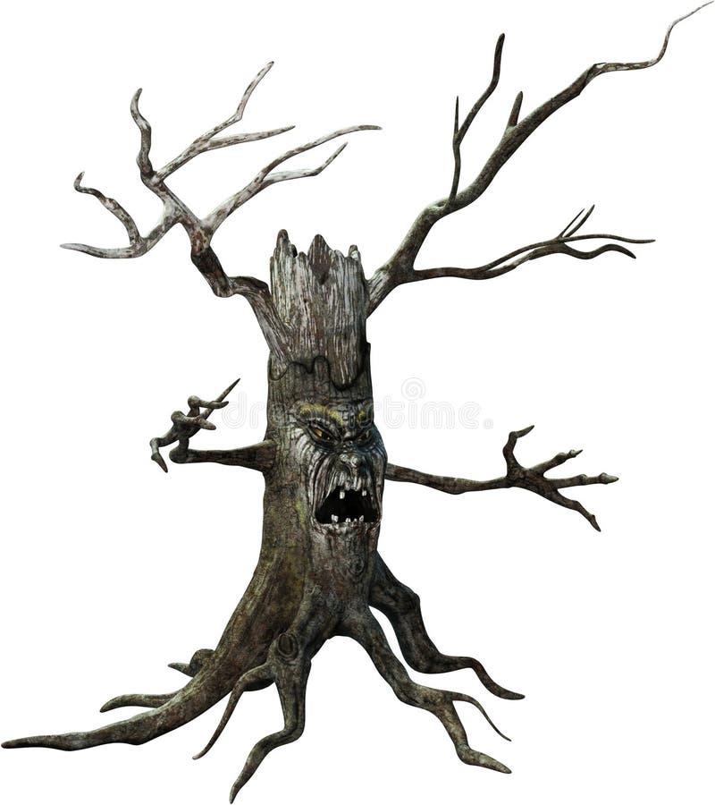 Страшное чудовище дерева хеллоуина изолировало иллюстрация штока