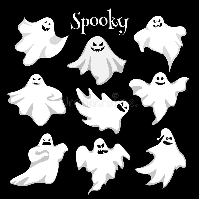 Страшные белые призраки конструируют на черной предпосылке - торжестве хеллоуина бесплатная иллюстрация