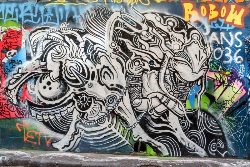 Страшные смотря граффити стоковое изображение rf
