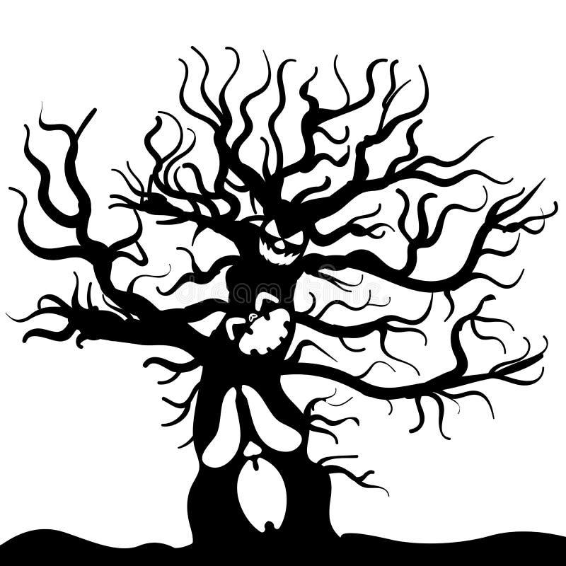 Страшный вектор хеллоуина эскиза изверга дерева иллюстрация вектора