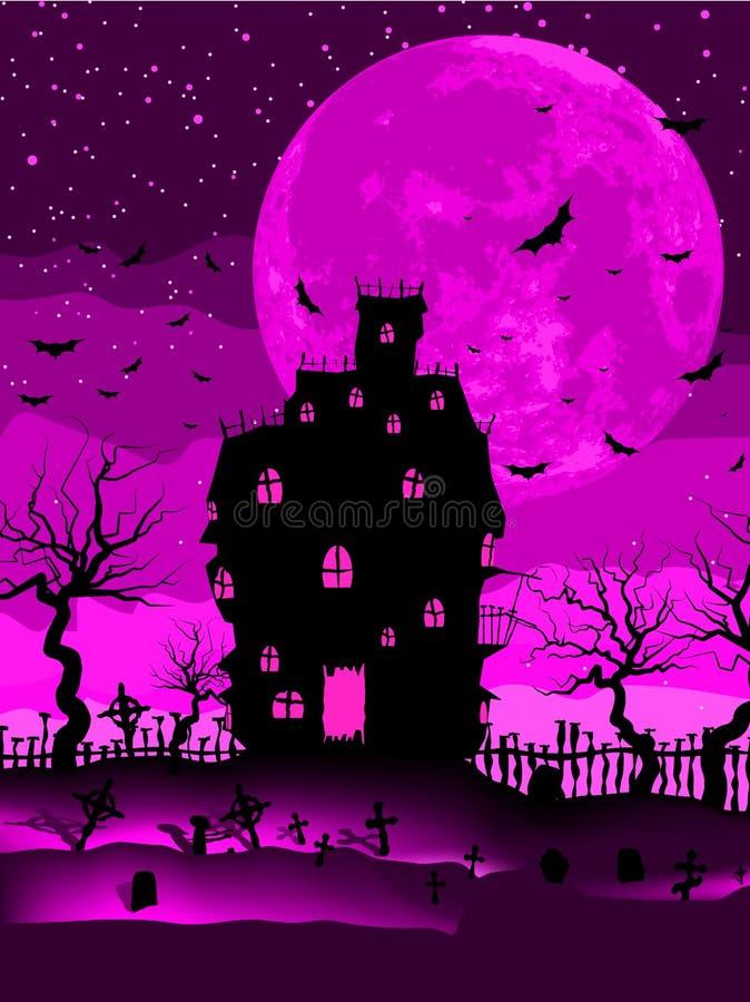 Страшный вектор halloween с волшебным аббатством. EPS 8 иллюстрация штока