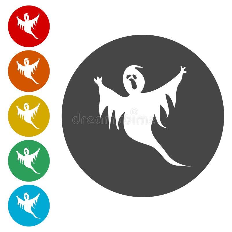 Страшный значок круга призрака иллюстрация вектора
