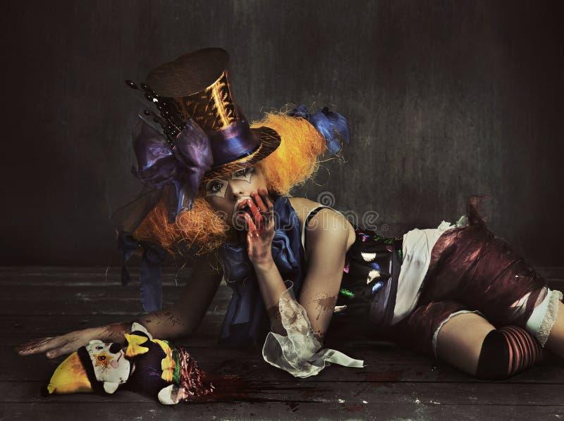 Страшный клоун изверга стоковая фотография