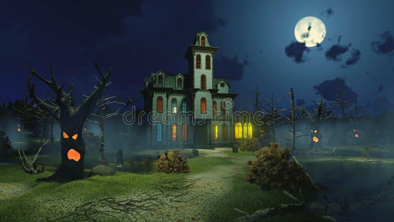 Страшный особняк и страшные деревья на ноче иллюстрация штока