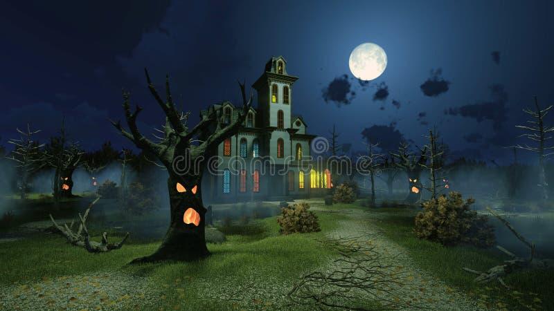 Страшный особняк среди страшных деревьев на ноче иллюстрация штока