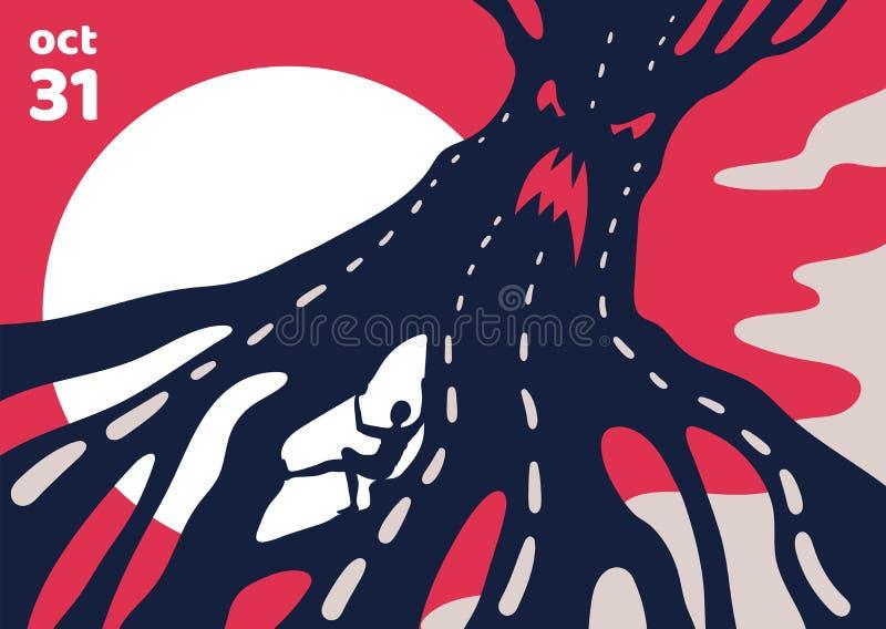 Страшный плакат хеллоуина о волшебном дереве чудовища бесплатная иллюстрация