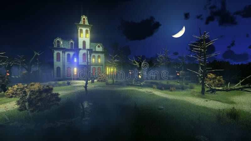 Страшный преследовать особняк под ночным небом иллюстрация штока