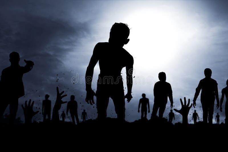 Страшный силуэт зомби стоковое фото rf