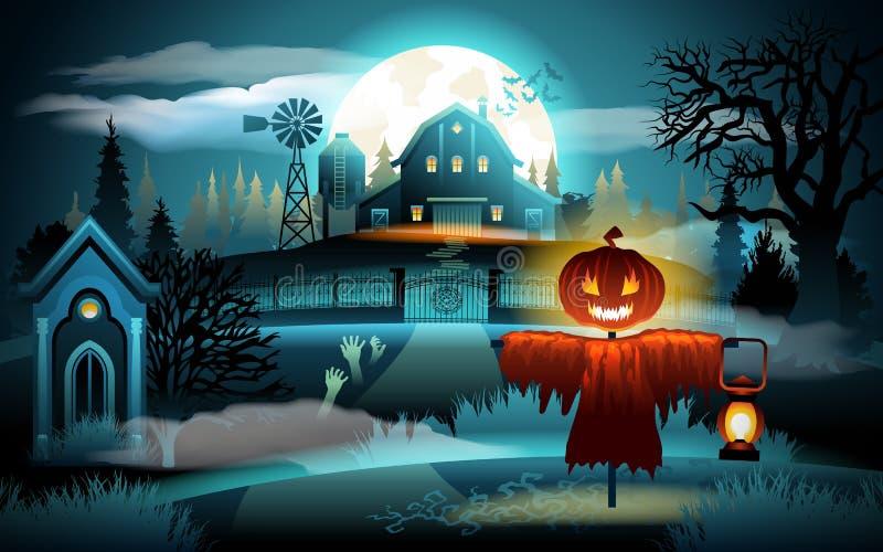 Страшный старый дом погоста и фермы на голубом лунном свете - предпосылке хеллоуина Чучело с головой тыквы иллюстрация штока