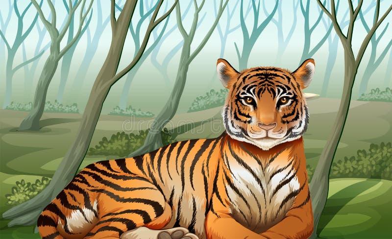 Страшный тигр на лесе иллюстрация вектора