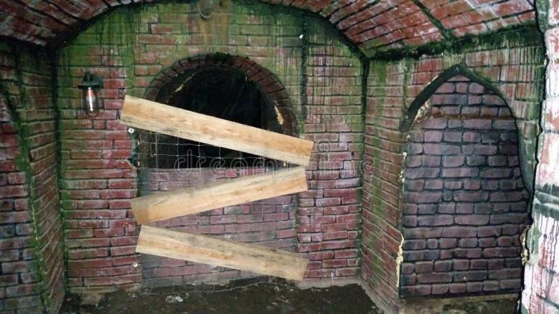 Страшный тоннель кирпича стоковое изображение rf