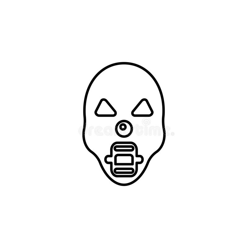 Страшный ужасный значок маски Элемент значка праздника хеллоуина для передвижных apps концепции и сети Тонкая линия страшная ужас иллюстрация вектора