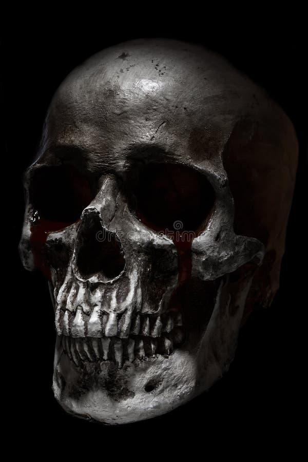 Страшный человеческий череп, плача кровь стоковые изображения rf
