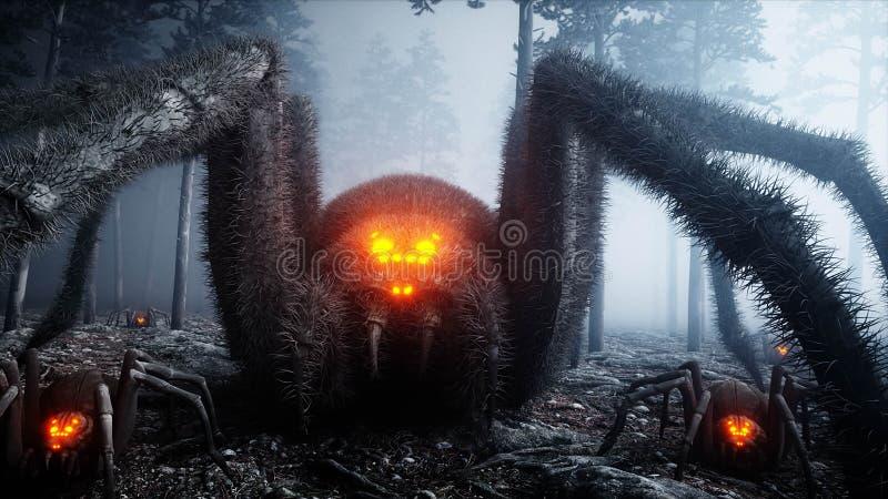 Страшный gigant паук в страхе и ужасе леса ночи тумана Mistic и концепция хеллоуина перевод 3d иллюстрация вектора