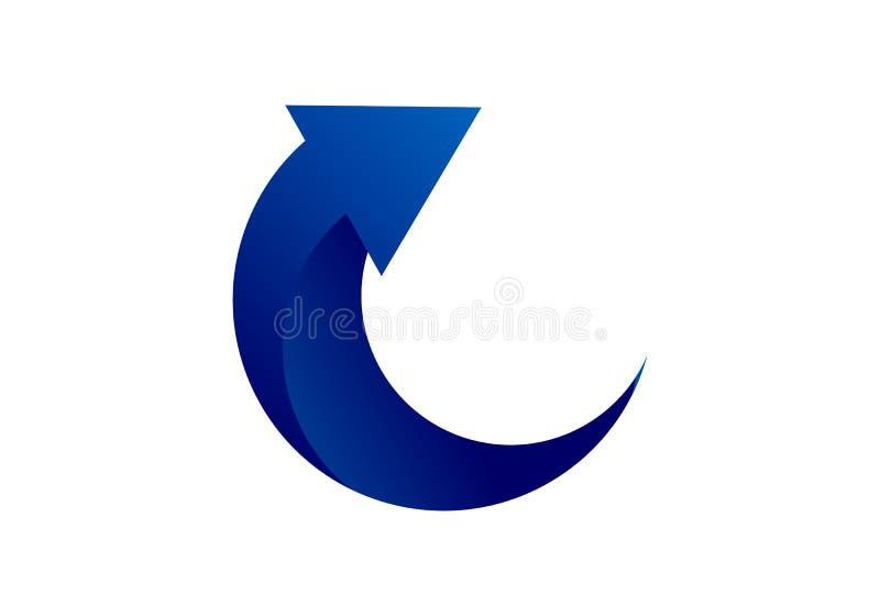 Стрелка, вектор логотипа вращения иллюстрация вектора