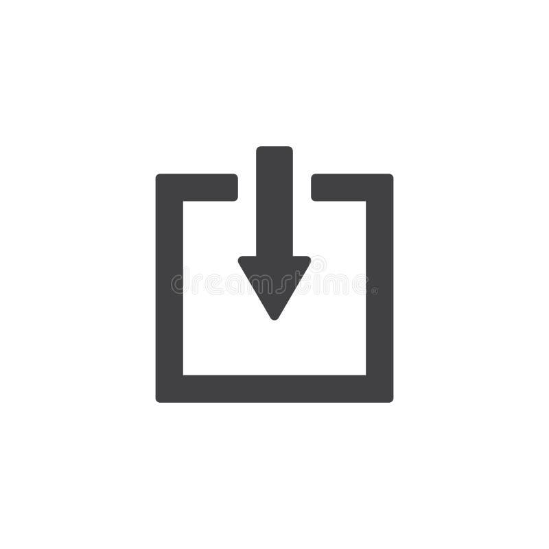 Стрелка вниз со значка вектора кнопки лифта иллюстрация вектора