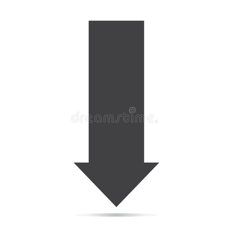 Стрелка вниз со значком тени на белой предпосылке Плоский стиль стрелка вниз со значка для вашего дизайна вебсайта, логотипа, при бесплатная иллюстрация