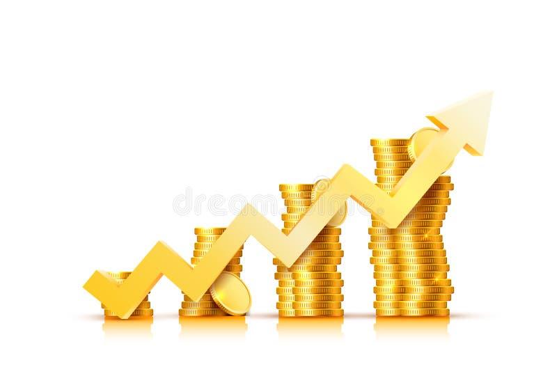 Стрелка диаграммы роста финансов с золотыми монетками бесплатная иллюстрация