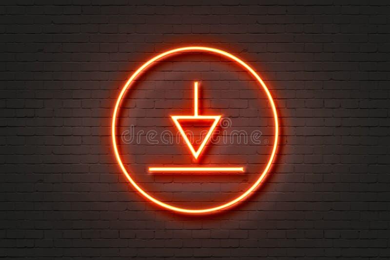 Стрелка загрузки значка неонового света стоковое фото rf