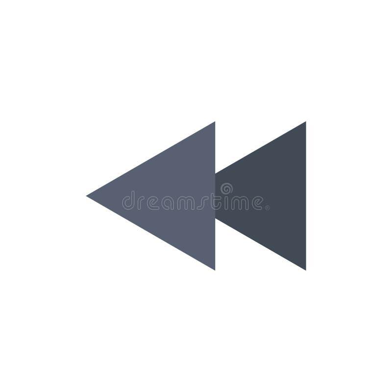 Стрелка, задняя часть, обратный, перематывает плоский значок цвета Шаблон знамени значка вектора иллюстрация вектора