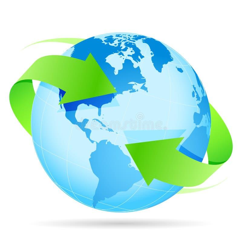 Стрелка земли планеты иконы иллюстрация вектора