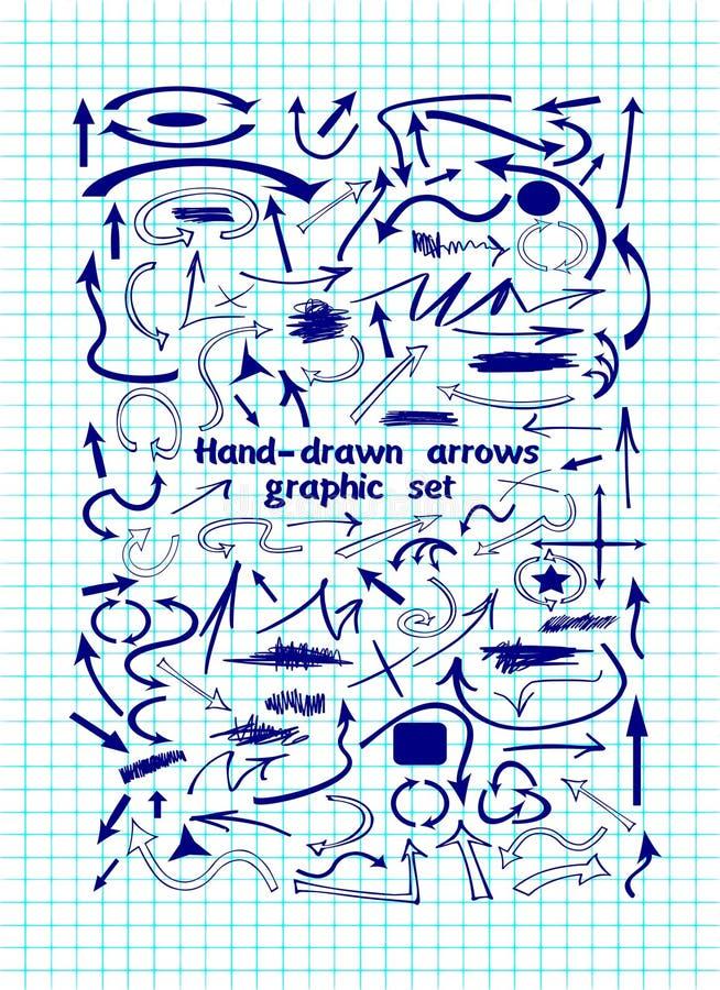 Стрелка и формы vector иллюстрации на листе тетради иллюстрация вектора