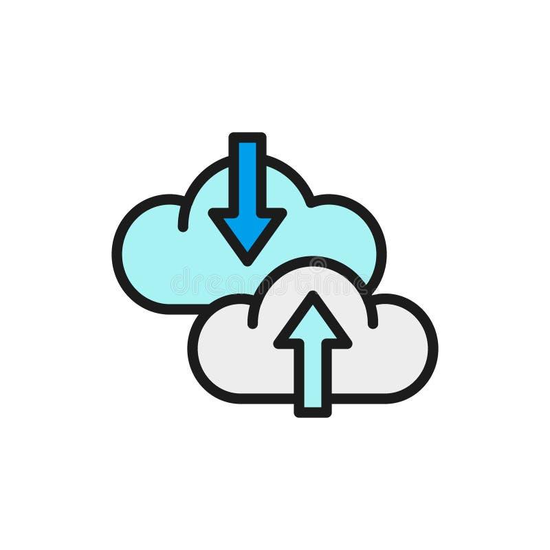 Стрелка облака вектора, передача данных, загрузка, нагружая плоский значок цветного барьера иллюстрация штока