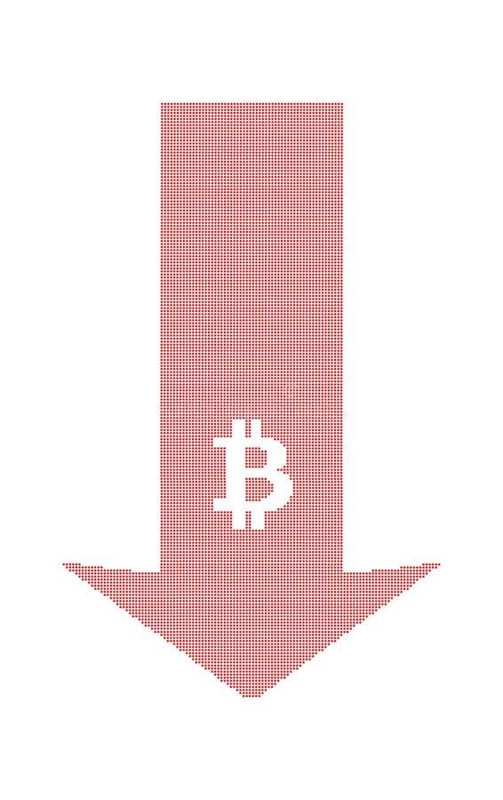 Стрелка падений цен bitcoin иллюстрация штока