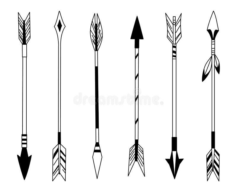 Стрелка пера руки вычерченная, племенные пер на указателе и декоративный смычок boho, наконечник пера индийский Родной ацтек или иллюстрация вектора